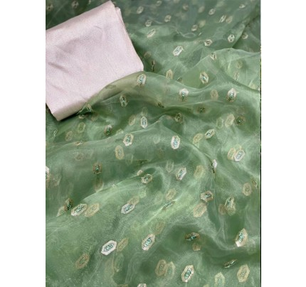 Modern Look Organza Silk Saree with Fully Sequencing butti work