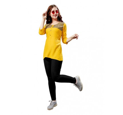 Summer Special Yellow color Heavy Rayon Slub Top