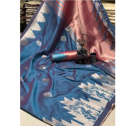 Stunning Skyblue Color Ekkat Silk Rich Pallu Weaving Border  All Over Nice Designing Saree With Weaving Blouse