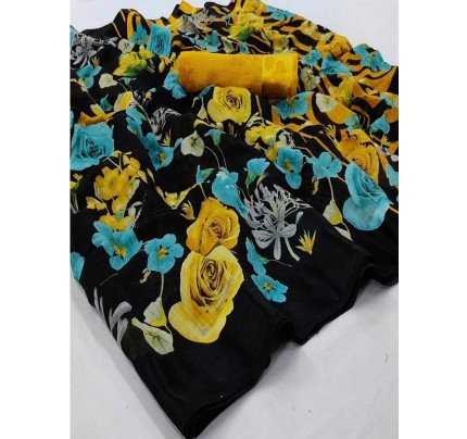Eye-Catching Look Multi color Soft Linen Silk Floral Printed Saree