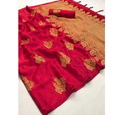 Classic Look Pink Color Soft Sattin Silk Saree