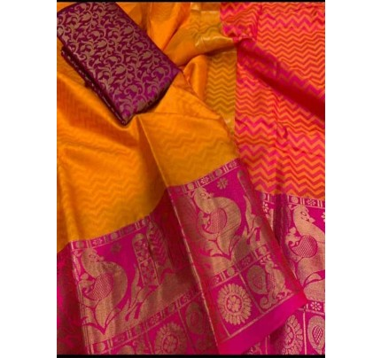 Elegance Look Orange Colored Rich Cotton  Saree