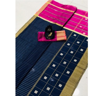 Latest Traditional Look Blue Color Soft & Pure Silk Saree With Beautiful Zari Weaving Golden Border