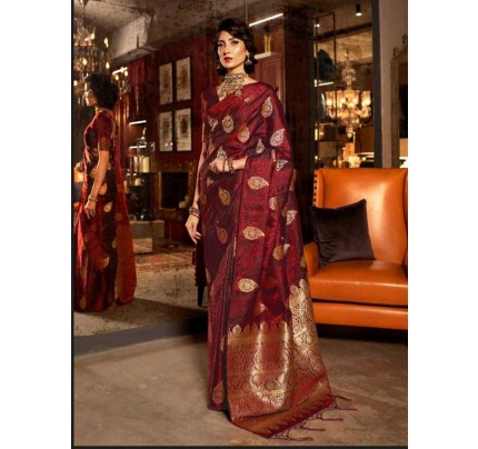 Classic Look Wine Color Soft Sattin Silk Saree