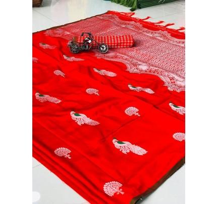 Amazing Stylish Lichi Silk weaving Saree with Beautiful Peacock work