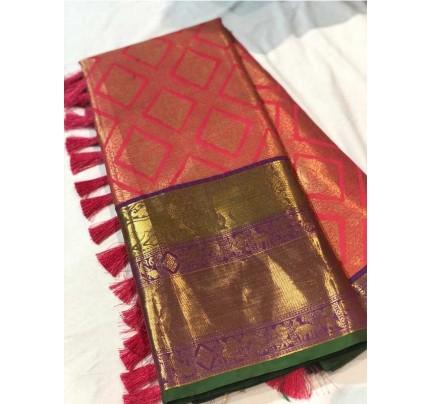Ethnic Kancipuram Silk Saree outstanding vibrant creativity pure zari weaving Border with elegant touchable