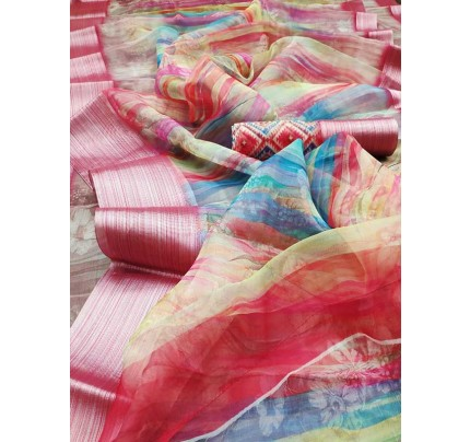 Multi Color Organza Fabric Digital Printed Saree