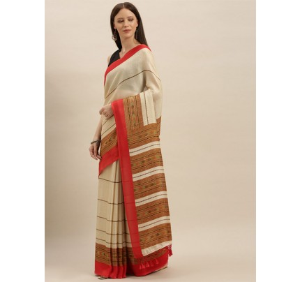 Traditional Look Cream  Colour Jute Silk Printed Ikat Saree