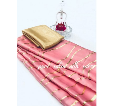Classic Look BabyPink Color Pure Satin Silk With Floral Print Saree