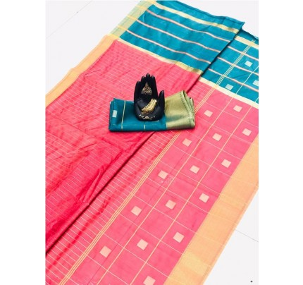 Latest Traditional Look Pink Color Soft & Pure Silk Saree With Beautiful Zari Weaving Golden Border