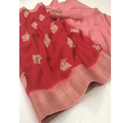 Wedding Designer Red Color Pure Winter silk with Digital Print
