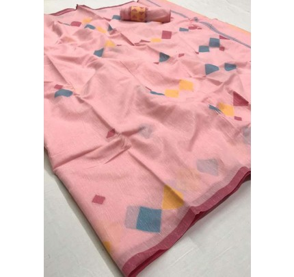 New Trending Peach Color Linen Cotton Silk Printed Saree