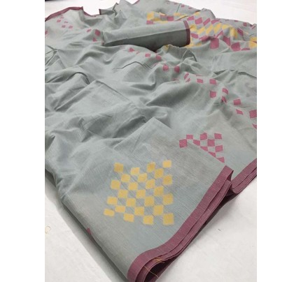 New Trending Grey Color Linen Cotton Silk Printed Saree