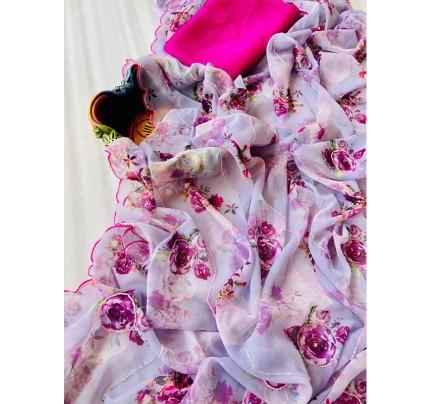 Superb Trending Pure Georgette Saree with Beautiful Tone to Tone Jadosi Hand work