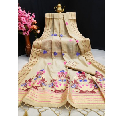 Floral Style Pure Linen Saree with Zari Woven border