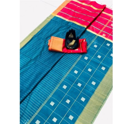 Latest Traditional Look SkyBlue Color Soft & Pure Silk Saree With Beautiful Zari Weaving Golden Border