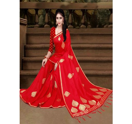 New Eye Catcher Red Color Soft Silk Weaving Jacquard Saree With Extra Ordinary Pallu
