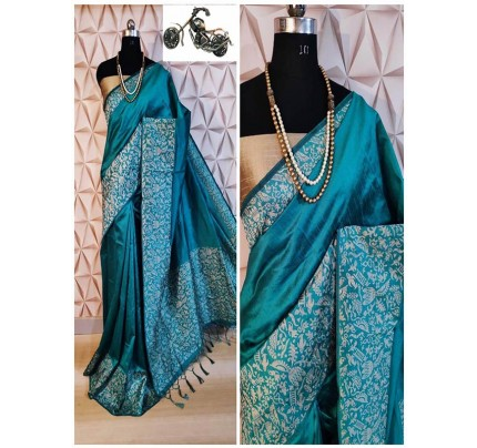 Stylish Look SkyBlue Color Raw Silk Weaving Saree With Rich Pallu