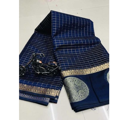 Stunning Blue Color Soft Linen Silk Saree