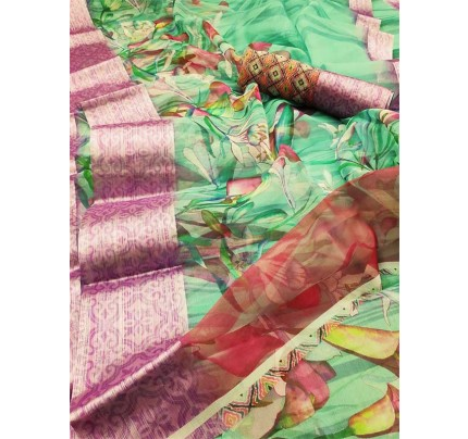 Trending Multi Colored Beautiful Organza Digital Printed Saree