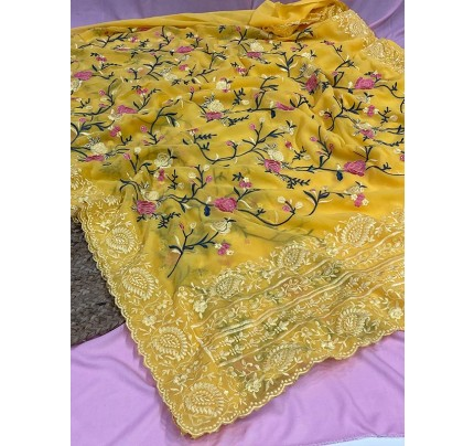 Floral Style Georgett Silk Saree with flowers work jal and cutwork of matching thread work