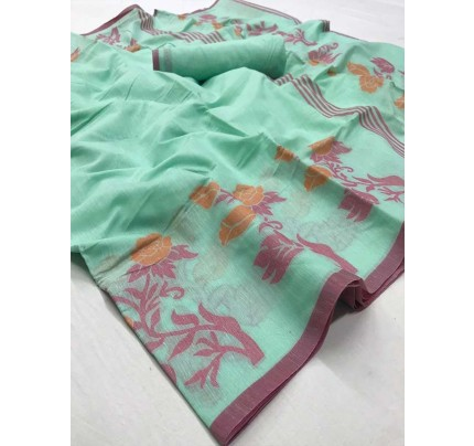New Trending Cyan Color Linen Cotton Silk Printed Saree