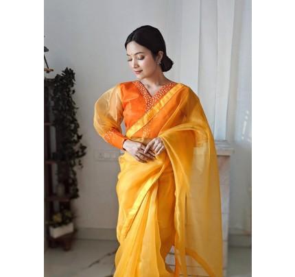 Celebrity Style Organza Saree with Khatli Blouse Work