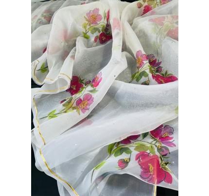 Celebrity Style white Organza Printed Saree with Khatli handwork
