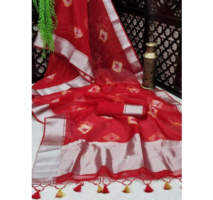 Classic Look Soft Orgenza Silk Saree with Bandhani print AllOver with silver zari border