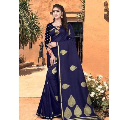 New Eye Catcher Blue Color Soft Silk Weaving Jacquard Saree With Extra Ordinary Pallu