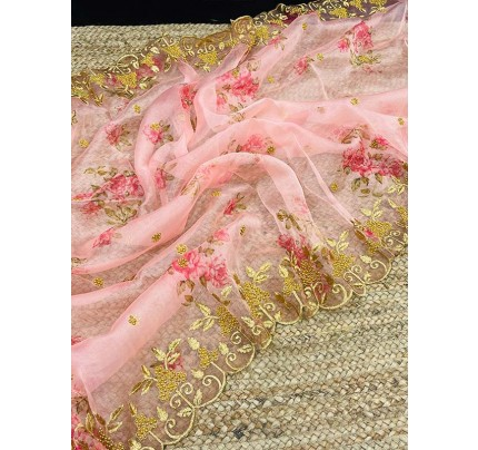 Fancy Look Organza embroidery Saree with hand Stone work