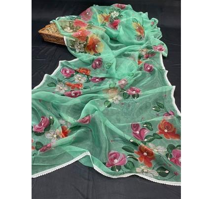 Superb Trending Soft Pure Organza handwork Khatli work on Printed Saree with Cotton  work  border