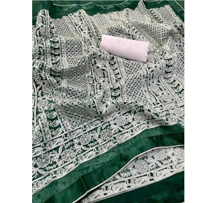 Premium Organza Lakhnavi work Saree with beautiful piping & Lace border