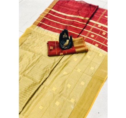 Latest Traditional Look Cream Color Soft & Pure Silk Saree With Beautiful Zari Weaving Golden Border