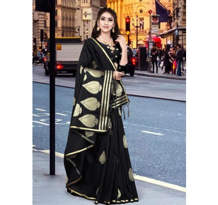 New Eye Catcher Black Color Soft Silk Weaving Jacquard Saree With Extra Ordinary Pallu