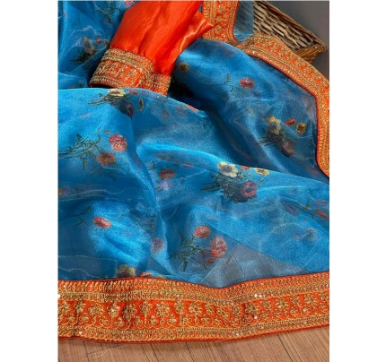Finnest Look Organza Printed Saree with Sequence lace border