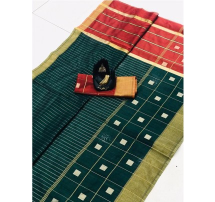 Latest Traditional Look Green Color Soft & Pure Silk Saree With Beautiful Zari Weaving Golden Border
