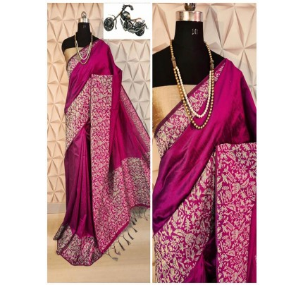 Stylish Look Pink Color Raw Silk Weaving Saree With Rich Pallu