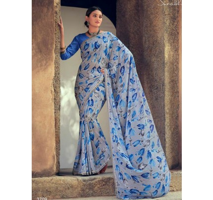 Printed Hit Design Soft Georgette Sarees with Fancy Lace