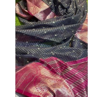 Attractive Look Cotton Checks Saree with Silver Zari Jacquard Border