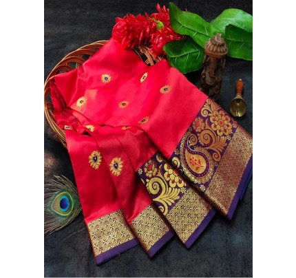 Elegant Look Pure Lichi Soft Silk Saree with Rich Pallu & jequared Blouse