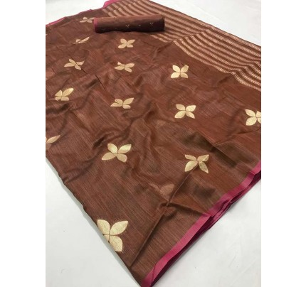 New Trending Brown Color Linen Cotton Silk Printed Saree