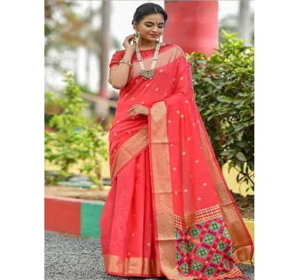 Wedding wear Pink color Soft Cotton Silk weaving Saree