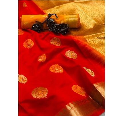 Red Color Lichi Silk Saree With Zari Weaving Butta on Saree