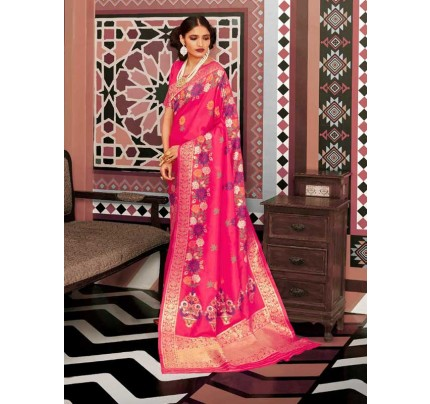 Wedding Designer Pink Color pure silk weaving Saree with excellent soft texture