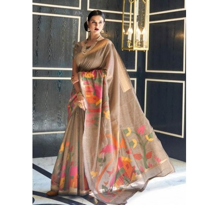 Beautiful Look Multi Color Pure Linen Saree