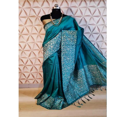 New Eye Catcher Cyan Color Raw Silk Saree With mutli color border