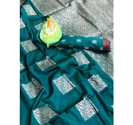 Graceful combination for Wedding Look Green Color Lichi Silk Zari Weaving Saree