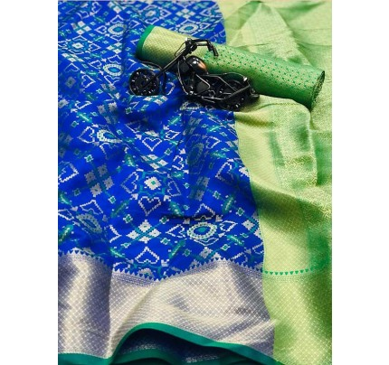 Beautiful Blue Color Heavy Traditonal Patola Saree