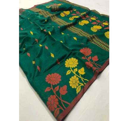 New Trending Green Color Linen Cotton Silk on Silk Base  Saree